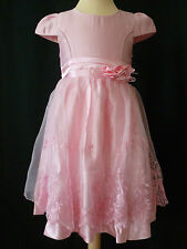 GIRLS PINK ROSE EMBROIDERED FLOWER WEDDING PARTY DRESS AGE 2 - 3 YEARS UK NEW