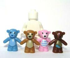 Lego 4 Teddy Bear Bears Minifigure Not Included  Pink Brown Blue Dark Brown