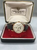 Universal Geneve Triple Date Moonphase watch, 33mm case in 18K Rose gold, & box