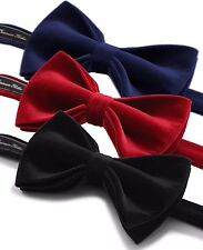 Men High Quality Cotton Velvet Bow Tie Pre Tied Adjustable Length Formal Necktie