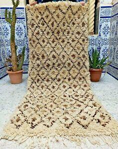 "Vintage Rug Moroccan Handmade Tribal carpet Azilal Kilim Berber Wool  5'9"" x 2'5"