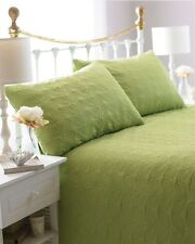 240cm X 260cm Bedspread Set Leaf Green Quilted Embossed Throw Over Pillow Shams