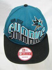 Vintage NHL San Jose Sharks Black and Teal Baseball Hat Cap Snapback