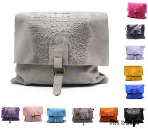 Womens Snakeskin Italy Suede Leather Handbag Crossbody Messenger Shoulder Bag