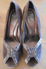 Cole Haan Ladies' Size 8B Tall Wedgie Brown Suede Platform Shoes EUC