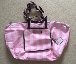 Victoria's Secret Pink And White Stripe Packable Tote Bag