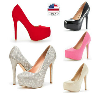 Women Slip On Pumps High Heel Stilettos Platform Party Elegant Dress Pump Shoes
