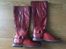 New FRYE Phillip Harness Red Cowboy Boots womens 6 Tall Riding Western Boot