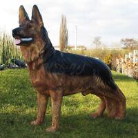 DEUTSCHER SCHÄFERHUND lebensgroß stehend 100 cm Garten Deko Tier Figur HUND DOG