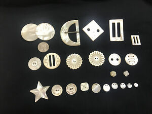 Lot of (23) Antique Vintage Mother Of Pearl Buttons and Buckles