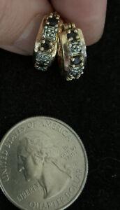 Sterling Silver Vermeil Sapphire Hoops Diamond Chip Earrings Southwestern Hoop