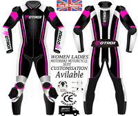 WOMENS LEATHER RACING SUIT MOTO STYLE LADIES CE ARMOUR MOTORBIKE / MOTORCYCLE