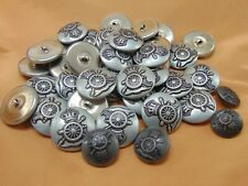 Vtg Crown & Canon Buttons Metal Shank Silver Tone  3 Sizes -  LOT of 68