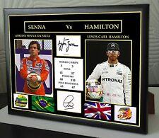 Lewis Hamilton AYRTON SENNA F1 grandi incorniciato stampa tela firmato