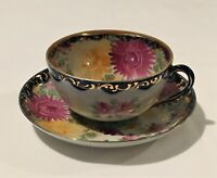 Vintage Asian Lusterware Teacup and Saucer, Hand painted, Floral w/ Gold Accents