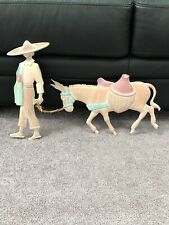 """""""Southwestern�- Mexican Man/Burro Pastel Colored Metal Wall Plaque Set"""