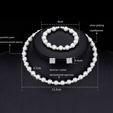 1 set Pearl Crystal Bridesmaid Wedding Jewellery Set Necklace Bracelet Earring H