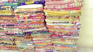 Wholesale Lot Of 5 PC Kantha Quilt Floral Vintage Blanket Cotton Reversible