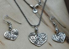 Silpada N1585 Retired Heart Pendant Necklace W1586 Retired Heart Earrings Set