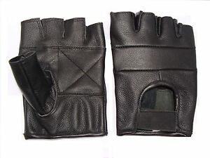 Leather Fingerless gloves motorcycle motorbike Driving Cycling Gym and Goth