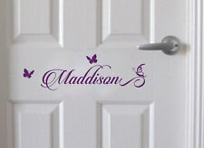 Custom Name Wall Door Sticker Decal Removable Nursery Baby Kids Room Butterflies