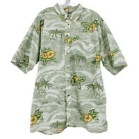 Vintage Big Dogs Men's 1X-2X Green Yellow Tropical Hawaiian Button Shirt VTG