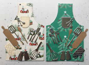 2 Sets Aprons Utensils Cooking Baking Christmas Die Cuts Toppers(B)