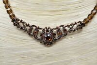 1928 Signed Necklace Rhinestone Crystal Beaded Victorian Vintage Shiny Chic Bin4