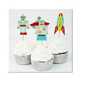 Robot Cupcake Toppers Space Birthday Toppers UFO Alien Space Rocket