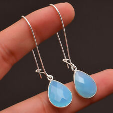 Mother's Day Blue Chalcedony Gemstone Jewelry 925 Sterling Silver Earrings
