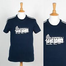 ADIDAS NAVY BLUE THREE STRIPE MENS T-SHIRT FOOTBALL CELEBRATIONS CASUALS XS