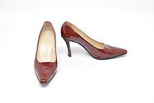CHANEL Bordeaux Patent Leather Fashion Pumps  37.5 CLASSIC