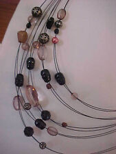 Black 10 Strand Necklace Suspended Glass Bead Necklace Silver 18""