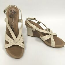 HUSH PUPPIES Shadowy Beige Leather Wedge Slingback Sandals Size UK 6