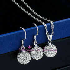 925 STERLING SILVER BALL NECKLACE EARRINGS SET with SWAROVSKI CRYSTAL EFX009