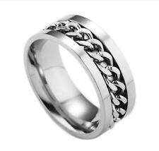 Size 7-11# Men's Spinner Stainless Steel Wedding Rings Gold Black Chain Band
