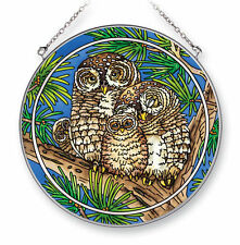 """AMIA STAINED GLASS SUNCATCHER 6.5"""" ROUND SPOTTED OWLS  #42424"""