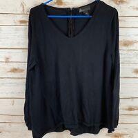 Lane Bryant Black Sweater Lightweight Size 18 20 Long Sleeves Back Zipper