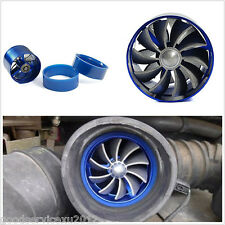 Blue Car Air Intake Fuel Gas Saver Single Fan Engine Enhancer Turbo Turbine Kit