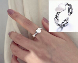 Heart 925 Sterling Silver Adjustable Band Thumb Rings Womens Girl Jewellery Gift