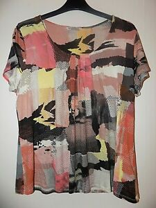 M&S Collection T-shirt Top UK 14 Coral Mix Excellent Condition