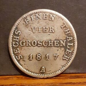 1817 Kingdom of Prussia German State Germany .521 Silver 4 Groschen Coin