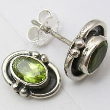 """925 Sterling Silver PERIDOT BIRTHDAY PRESENT Stud Earrings 0.4"""" MADE IN INDIA"""