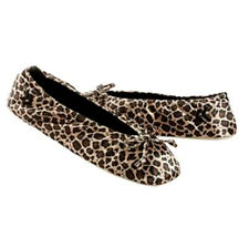 CHEETAH BLACK TAN ISOTONER BALLET STYLE SLIPPERS SHOES SIZE 9 - 10 XL NWT
