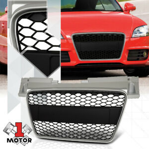 For 2008-2014 Audi TT MK2 {HONEYCOMB MESH} Silver/Black ABS Front Bumper Grille