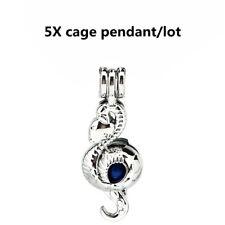 5X-K940 Snake Charm Locket Pearl Beads Cage Perfume Diffuser Pendant
