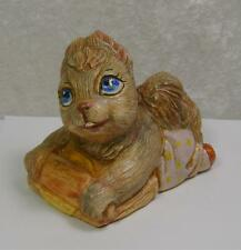 Squirrel Figurine Mama Rolling Pin Dough Blue Eyes Baking Woodland Home