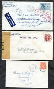 p834 - NEW BRUNSWICK Lot of (3) Covers - Censored - Returned. Postal History