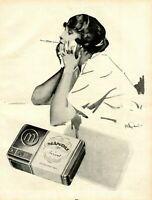 Manoli Privat XL Reklame 1922 von Julius U. Engelhard Raucherin Zigaretten Pause