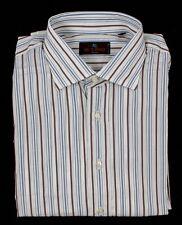 Men's ETRO Brown Striped Cotton Spread Collar Dress Shirt 17 1/2 XL 44 NWT $395!